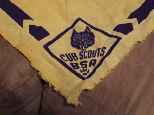 Old tattered scout handkerchief